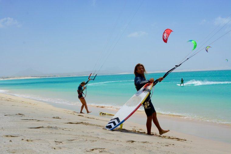 kitesurfer ready to enter the waters of Boa Vista