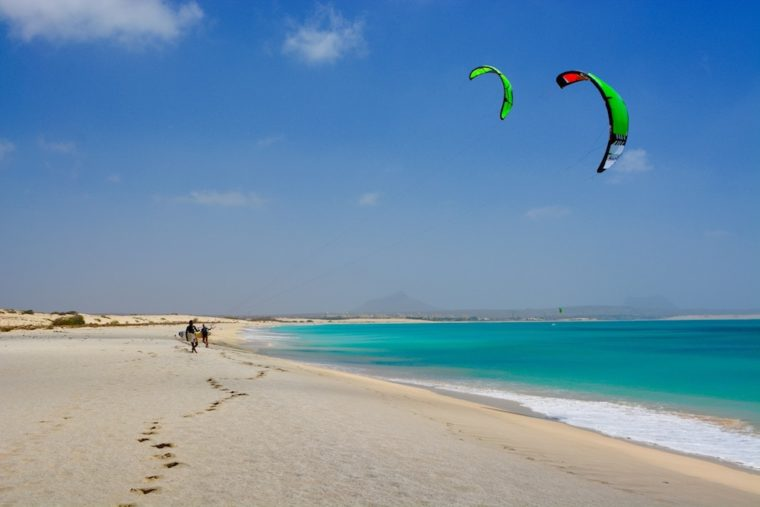 kitesurfers on carlota beach boa vista cape verde